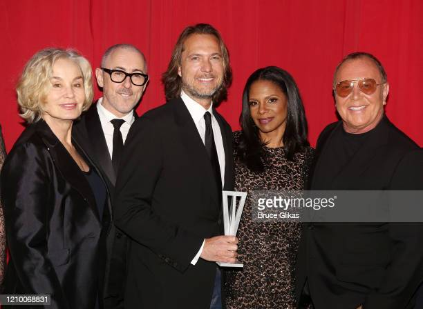 Jessica Lange, Alan Cumming, Lance LePere, Audra McDonald and Michael Kors pose at the 2020 Roundabout Theater Gala honoring Alan Cumming, Michael...