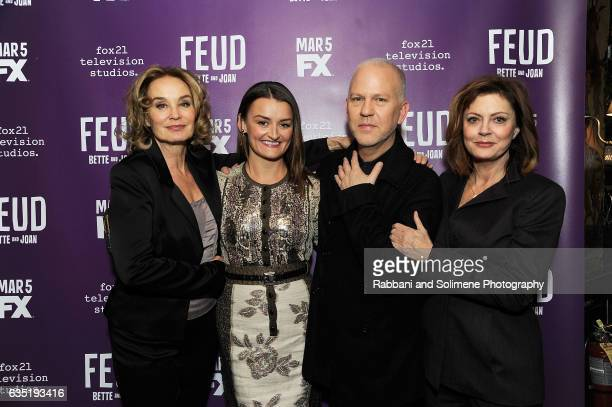 Jessica Lange Alison Wright Ryan Murphy and Susan Sarandon attends the 'Feud' Tastemaker Dinner at The Monkey Bar on February 13 2017 in New York City