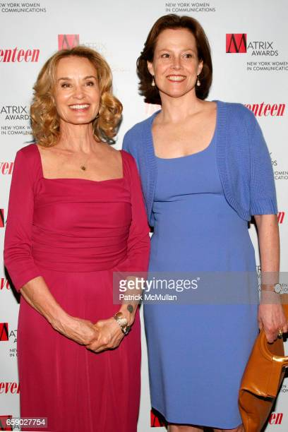 Jessica Lange and Sigourney Weaver attend NEW YORK WOMEN in COMMUNICATIONS presents the 2009 MATRIX AWARDS at The Waldorf=Astoria on April 27 2009 in...