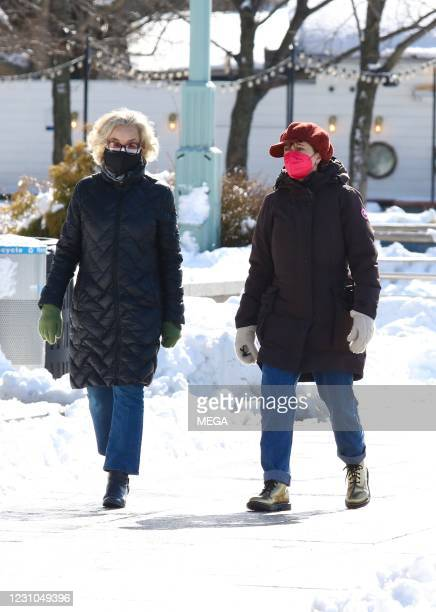 Jessica Lange and Susan Sarandon are seen on February 8, 2021 in New York City.