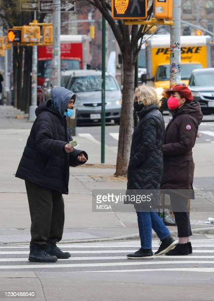 Jessica Lange and Susan Sarandon are seen out for a walk on January 8, 2021 in New York City, New York.