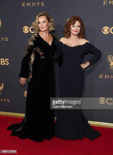 Jessica Lange and Susan Sarandon attend the 69th Annual Primetime Emmy Awards at Microsoft Theater on September 17 2017 in Los Angeles California