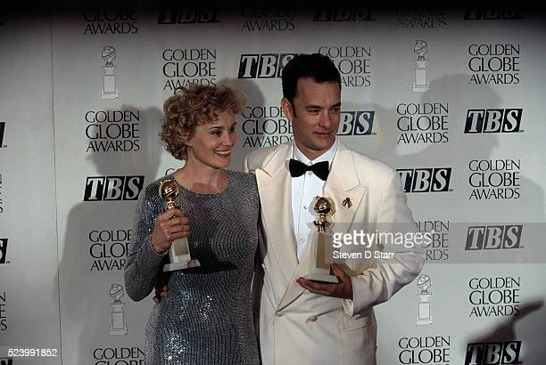 Jessica Lange and Tom Hanks hold their awards at the 52nd Golden Globe Award Ceremony Lange won the Best Actress award for her role in Blue Sky and...