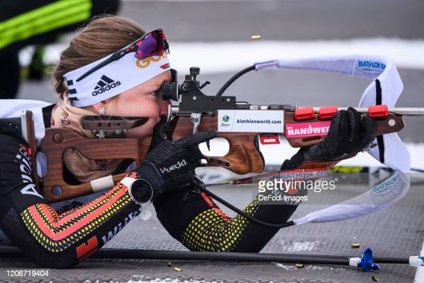 Jessica Lange of Germany at the shooting range during the DSV Deutschlandpokal Biathlon Ruhpolding on February 28, 2020 in Ruhpolding, Germany.
