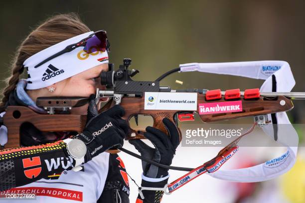 Jessica Lange of Germany at the shooting range during the DSV Deutschlandpokal Biathlon Ruhpolding on February 29, 2020 in Ruhpolding, Germany.