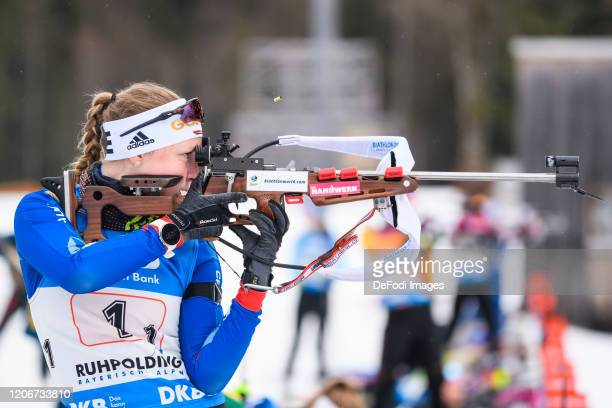 Jessica Lange of Germany at the shooting range during the DSV Deutschlandpokal Biathlon Ruhpolding on March 01, 2020 in Ruhpolding, Germany.