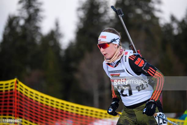 Jessica Lange of Germany in action competes during the DSV Deutschlandpokal Biathlon on January 11, 2020 in Notschrei, Germany.