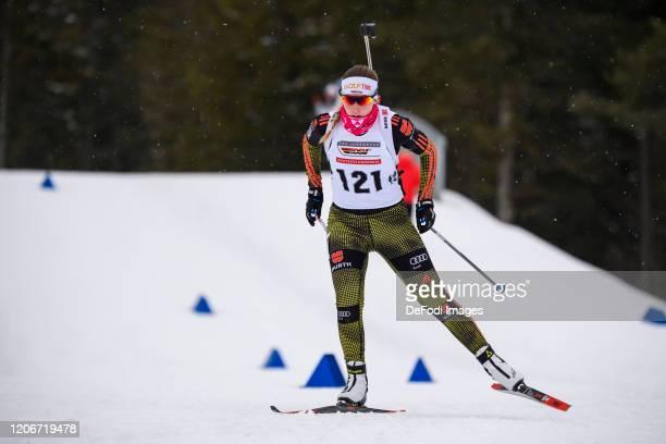 Jessica Lange of Germany in action competes during the DSV Deutschlandpokal Biathlon Ruhpolding on February 28, 2020 in Ruhpolding, Germany.