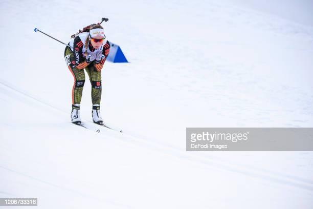 Jessica Lange of Germany in action competes during the DSV Deutschlandpokal Biathlon Ruhpolding on February 29, 2020 in Ruhpolding, Germany.