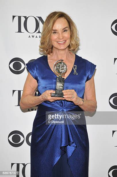 Jessica Lange poses in the press room with her award at the 70th Annual Tony Awards at the Beacon Theatre on June 12 2016 in New York City