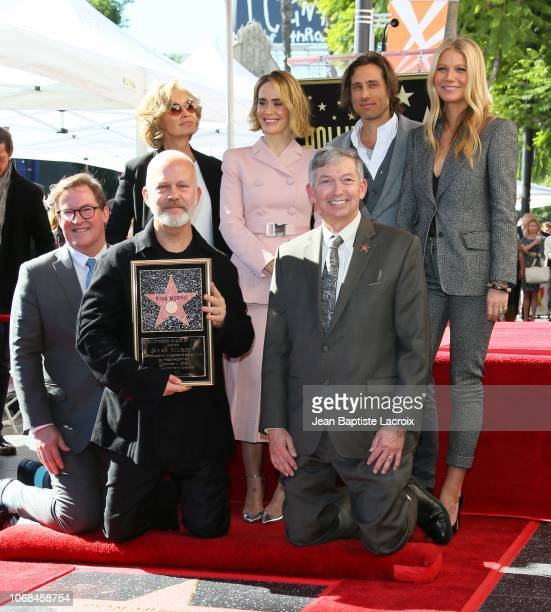 Jessica Lange, Sarah Paulson, Ryan Murphy, Gwyneth Paltrow and Brad Falchuk attend a ceremony honoring Ryan Murphy with a star on The Hollywood Walk...