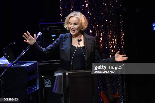 Jessica Lange speaks onstage at the Roundabout Theater's 2020 Gala at The Ziegfeld Ballroom on March 02 2020 in New York City