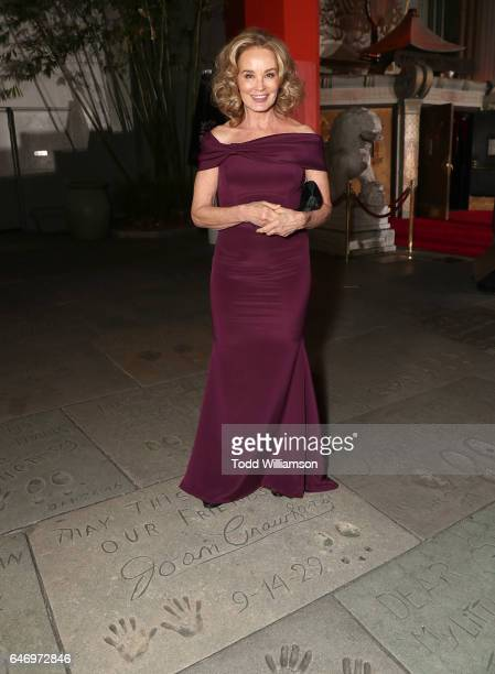 Jessica Lange stands on Joan Crawfords hand and foot prints at the premiere of FX Network's 'Feud Bette And Joan'at Grauman's Chinese Theatre on...
