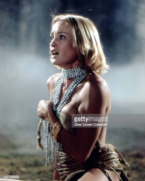 Jessica Lange US actress wearing a white bead necklace and a shoulderless dress in a publicity still issued for the film 'King Kong' 1976 The remake...