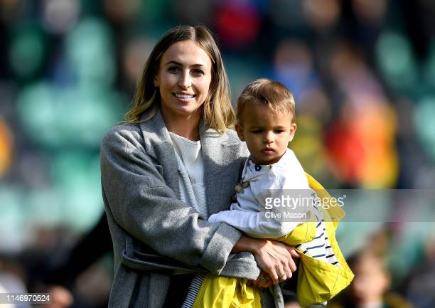 Jessica Lawes wife of Courtney Lawes of Northampton Saints with her family after the Gallagher Premiership Rugby match between Northampton Saints and...