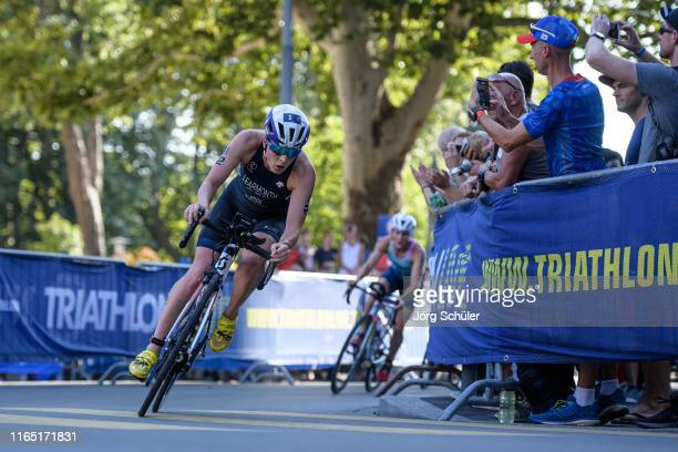 Jessica Learmonth of Great Britain on the bike track during the women's elite olympic race at the ITU World Triathlon Grand Final on August 31 2019...