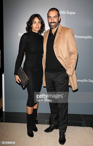 Jessica LemairePires and Robert Pires attend the opening of Ermenegildo Zegna new boutique in London at Ermenegildo Zegna Boutique on November 9 2016...