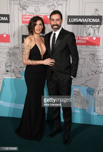 Jessica Lemarie and Robert Pires arrive at the Fabulous Fund Fair event during London Fashion Week February 2019 at the The Roundhouse on February 18...
