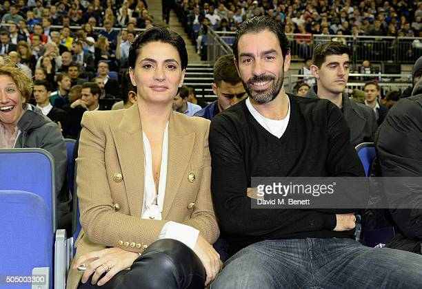 Jessica Lemarie and Robert Pires attend Orlando Magic vs Toronto Raptors NBA Global Game at The O2 Arena on January 14 2016 in London England