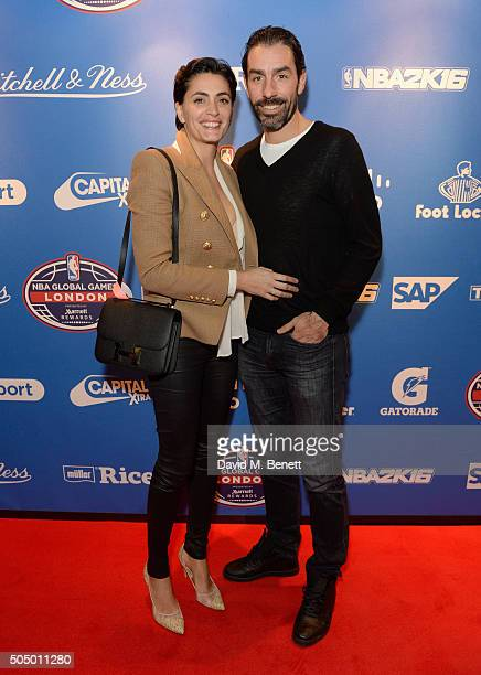 Jessica Lemarie and Robert Pires attend the Orlando Magic v Toronto Raptors NBA Global official after party at Building Six in The O2 Arena on...