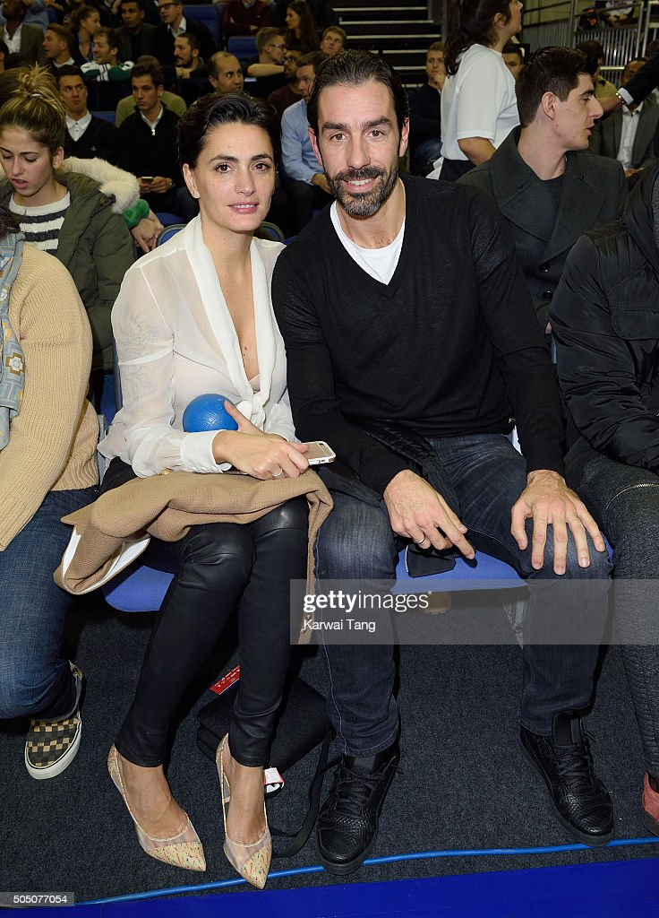 Jessica Lemarie and Robert Pires attend the Orlando Magic vs Toronto Raptors NBA Global Game at The O2 Arena on January 14, 2016 in London, England.