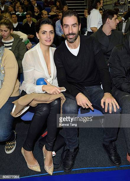 Jessica Lemarie and Robert Pires attend the Orlando Magic vs Toronto Raptors NBA Global Game at The O2 Arena on January 14 2016 in London England