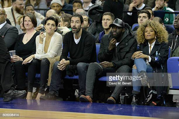 Jessica Lemarie Robert Pires a guest and Fleur East attend the Orlando Magic vs Toronto Raptors NBA Global Game at The O2 Arena on January 14 2016 in...