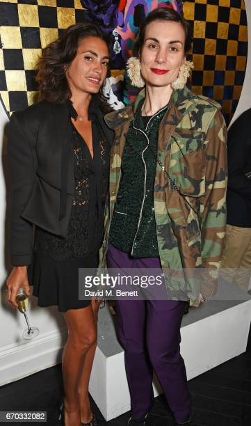 Jessica LemariePires and Maria Kastani attend a VIP private view for New York artist Bradley Theodore at Maddox Gallery on April 19 2017 in London...
