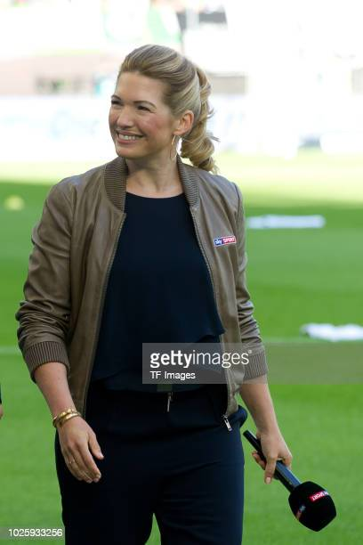 Jessica Libbertz looks on during the Bundesliga match between VfL Wolfsburg and FC Schalke 04 at Volkswagen Arena on August 25, 2018 in Wolfsburg,...