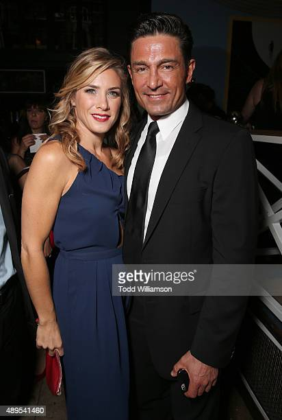 Jessica Lindsey and Fernando Colunga attend the after party for Pantelion Films' Ladrones Los Angeles Premiere at the Warwick on September 21 2015 in...