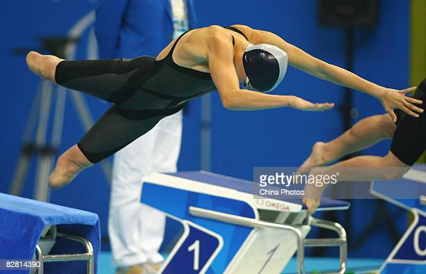 Jessica Long of the USA competes in the Women's 50m Freestyle S8 at the National Aquatics Center during day eight of the 2008 Paralympic Games on...