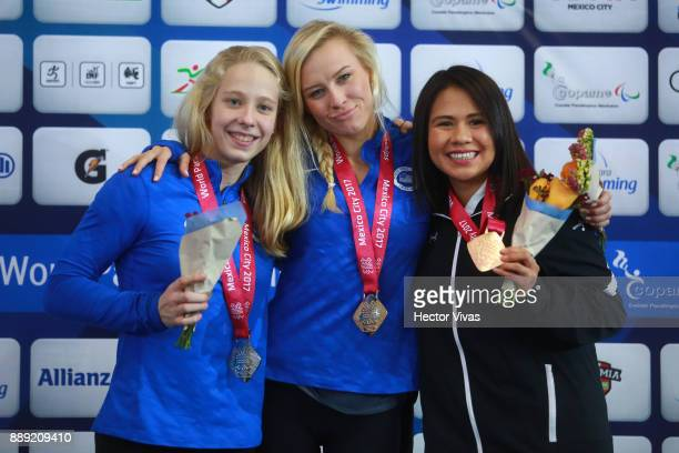 Jessica Long of United States Gold Medal Julia Gaffney of United Sates Silver Medal and Luz Valdez of Mexico Bronze Medal celebrates after the...