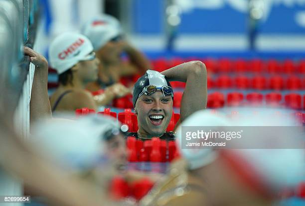Jessica Long of USA celebrates winning Gold in the women's 100m butterfly - S8 at the National Aquatics Centre on September 7, 2008 in Beijing, China.
