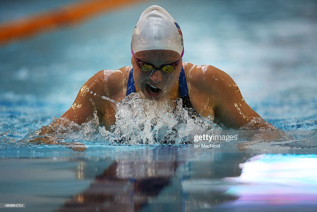 Jessica Long of USA competes in the heats of the Women's 100m Breaststroke SB7 during Day Two of The IPC Swimming World Championships at Tollcross Swimming Centre on July 14, 2015 in Glasgow, Scotland.