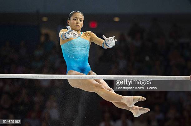 Jessica Lopez Arocha of Venezuela on the uneven bars during the individual artistic gymnastics competition at the 2015 PanAm Games in Toronto