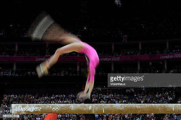 Jessica Lopez of Venezuala on the beam during the Womens Artistic Gymnastics Qualification as part of the 2012 London Olympic Summer Games at the...