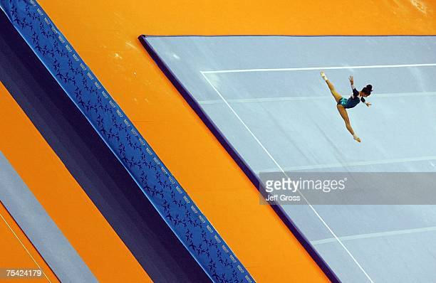 Jessica Lopez of Venezuela competes in the floor exercise during the Women's Artistic Gymnastics Team Final at the 2007 XV Pan American Games at the...
