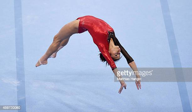 Jessica Lopez of Venezuela competes in the Floor Women's AllAround Competition during the EnBW Gymnastics Worldcup 2014 at the Porsche Arena on...