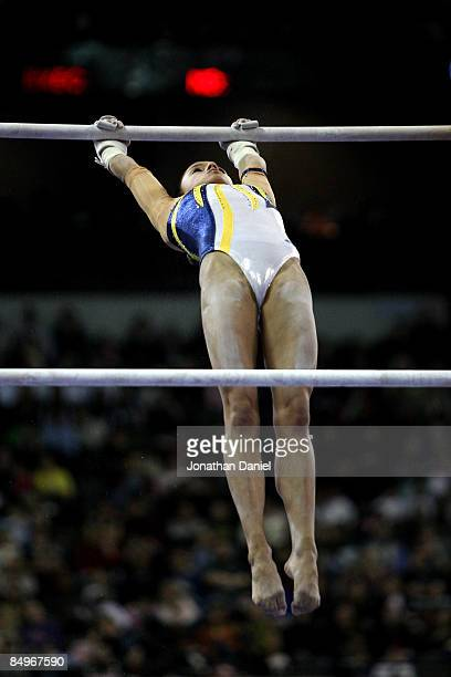 Jessica Lopez of Venezuela competes in the uneven bars exercise during the 2009 Tyson American Cup at the Sears Centre on February 21 2009 in Hoffman...
