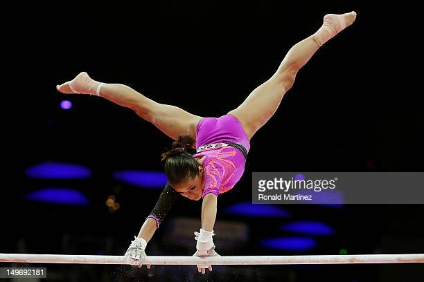 Jessica Lopez of Venezuela competes on the uneven bars in the Artistic Gymnastics Women's Individual AllAround final on Day 6 of the London 2012...