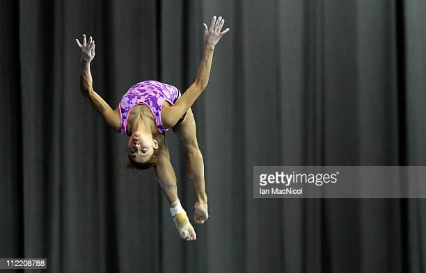Jessica Lopez of Venezuela on the beam during practice prior to the 2011 FIG Gymnastics World Cup at The Kelvin Hall on April 14 2011 in Glasgow...
