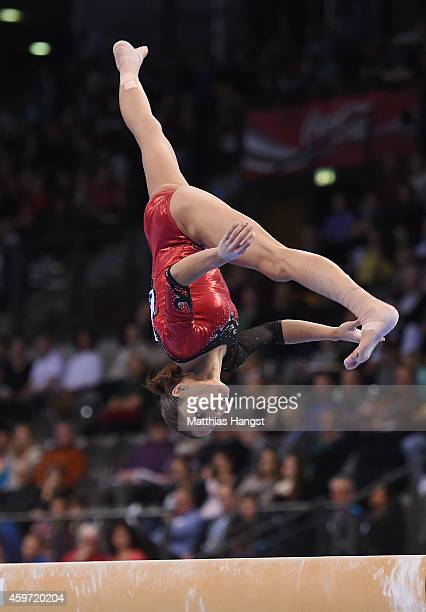 Jessica Lopez of Venezuela performs her balance beam routine in the Women's AllAround Competition during the EnBW Gymnastics Worldcup 2014 at the...