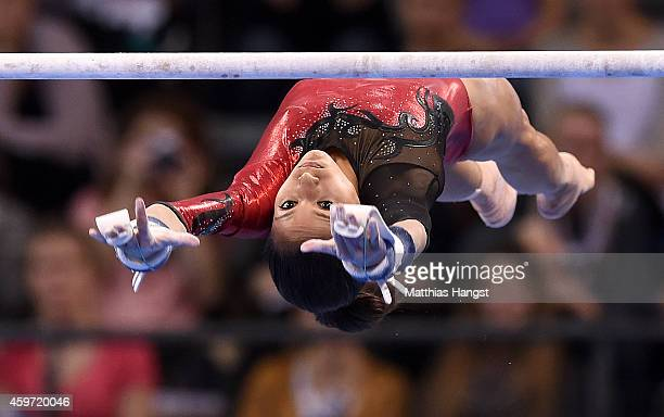 Jessica Lopez of Venezuela performs her beam routine in the Women's AllAround Competition during the EnBW Gymnastics Worldcup 2014 at the Porsche...
