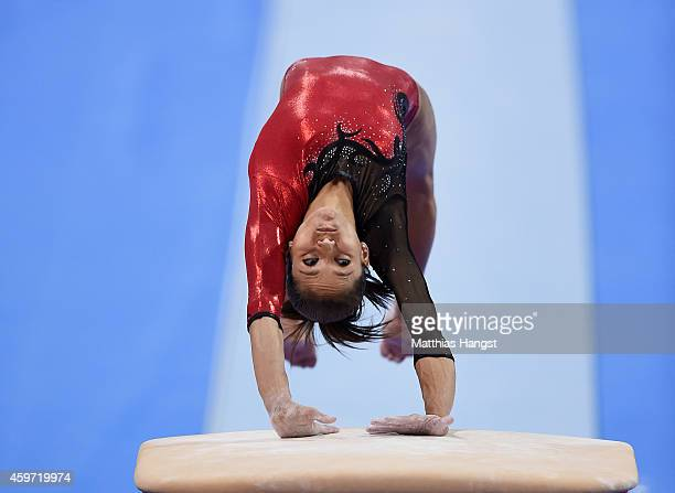Jessica Lopez of Venezuela performs her vault routine in the Women's AllAround Competition during the EnBW Gymnastics Worldcup 2014 at the Porsche...