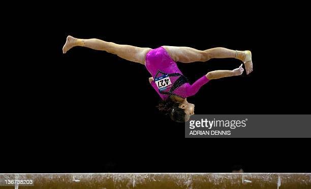 Jessica Lopez of Venezuela performs on the beam during the women's qualification of the Artistic International Gymnastics London 2012 Olympic...