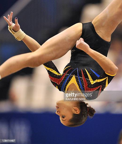 Jessica Lopez of Venezuela performs on the floor during women's qualification at the world gymnastics championships in Tokyo on October 7 2011 The...