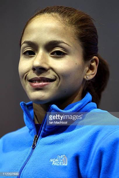 Jessica Lopez of Venezuela poses for a photograph during practice prior to the 2011 FIG Gymnastics World Cup at The Kelvin Hall on April 14 2011 in...