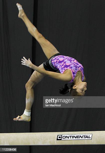 Jessica Lopez of Venezuela stretches during practice prior to the 2011 FIG Gymnastics World Cup at The Kelvin Hall on April 14 2011 in Glasgow...