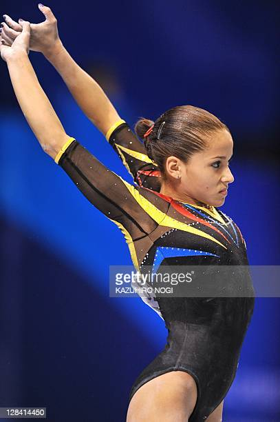 Jessica Lopez of Venezuela warms up before her performance during women's qualification at the world gymnastics championships in Tokyo on October 7...
