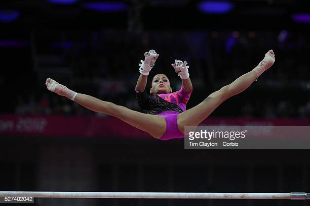 Jessica Lopez Venezuela in action on the Uneven Bars during the Women's Individual AllAround competition at North Greenwich Arena during the London...